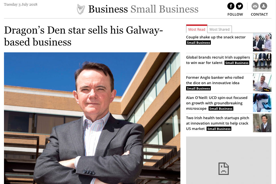 Irish Independent: Dragon's Den star sells his Galway-based business