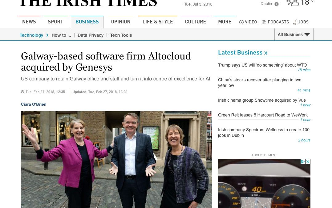 Irish Times: Galway-based software firm Altocloud acquired by Genesys