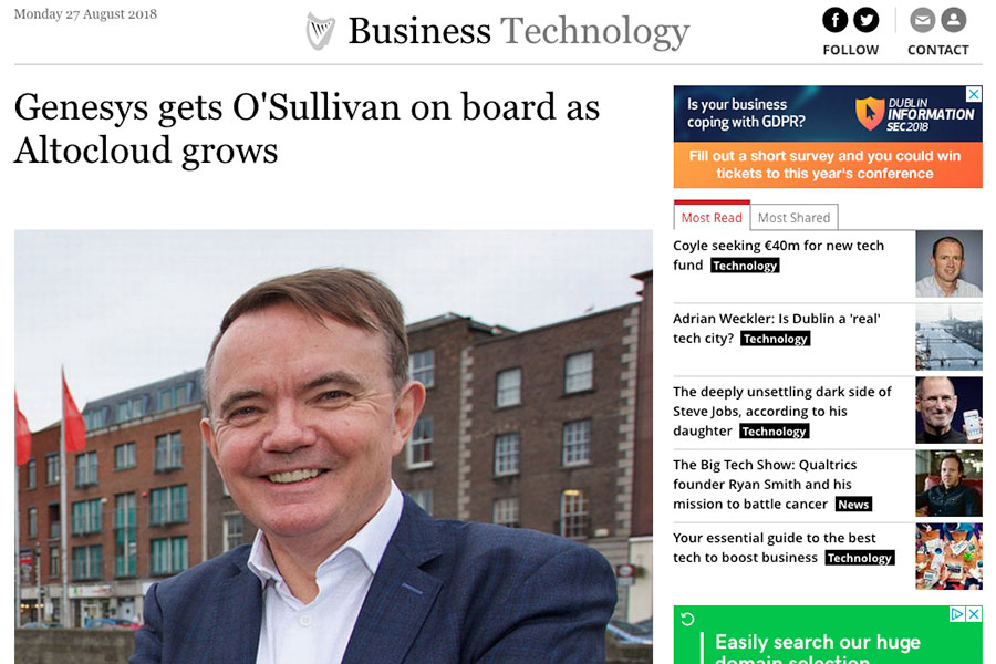 Genesys gets O'Sullivan on board as Altocloud grows
